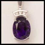 14KW Amethyst Diamond Pendant
