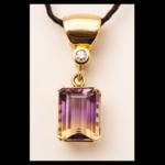 14KY Ametrine Diamond Pendant