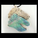14KW Hand Carved Boulder Opal Horse Pendant