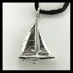 """Sterling """"A"""" Scow Sailboat Pendant"""