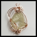 Custom Wire Rose-Gold-Plated Hand-Carved Mountin Jade Fish