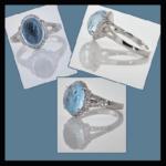 14KW Cabochone Aquamarine & Diamond Ring