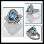 14KW Tri-Cut Aquamarine & Diamond Ring