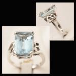 14KW Rectangular-Cut Aquamarine Ring