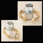 14KY Oval-Cut Aquamarine Ring