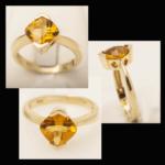 14KY Citrine & Diamond RIng