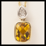 14KW Cherker-Top Citrine & Diamond Pendant
