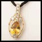 14KY Pear-Cut Citrine & Diamond Pendant