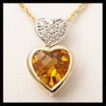 14K-TT Heart-Cut & Diamond Pendant