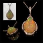 14KW Opal & Diamond Pendant