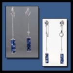 14KW Blue Sapphire & Diamond Dangle Earrings
