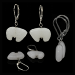Sterling White Quartz Bear Earrings