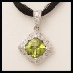 14KW Peridot & Diamond Pendant