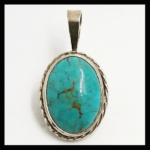 Silver-Plated Turquoise Pendant