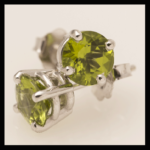 14KW Rnd-Cut Peridot Stud Earrings