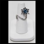 14KW Blue Topaz Flower Ring